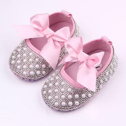 $enCountryForm.capitalKeyWord Canada - 2016 New Baby Girl Dress Shoes Shinning Pearl Cloth Big Bowknot First Walker Toddler Shoes Elastic Band Anti-slip Soft Sole 0-12 Months
