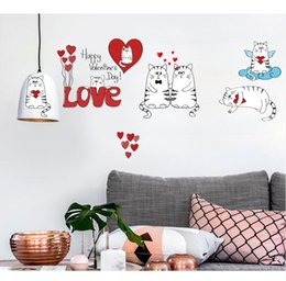 happy cat cartoon Canada - SK5002 Happy Valentine's Day Love Quote Wall Decals Love Heart Cats Wall Sticker For Kids Nursery Free Shipping
