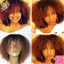 China Medium Auburn Ombre Full Lace Wigs Human Hair Brazilian Human Hair Afro Kinky Curly Lace Front Wig Two Tone Color For Black Woman cheap curly human hair two toned wigs suppliers