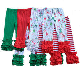 Wholesale Halloween Christmas girls stripe ruffle pants Baby Warmer Leggings Tights kids Fashion Leggings Trousers cotton Pants colors Free DHL