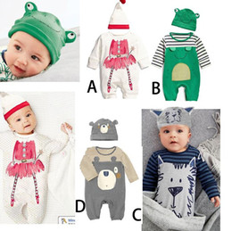 one piece spring suit kids 2020 - Spring Autumn Cute Infant Baby One-piece Rompers With Hat Kids Panda Lion Cartoon Animal Jumpers 2pcs Clothing Suits Chi