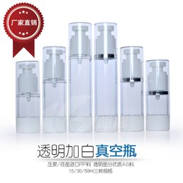 Discount personal decal - 15ml 30ml 50ml Spray Bottle Empty Cosmetic Perfume Container Vacuum Pressure Mouth bottle vacuum pump lotion bottle
