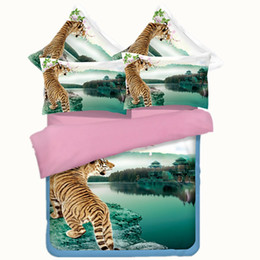 $enCountryForm.capitalKeyWord Australia - 3 Styles Animal World Printing Bedding Sets Twin Full Queen King Size Bedclothes Bedspreads Duvet Covers Unicorn Tiger 400TC 3 4PCS Peacock