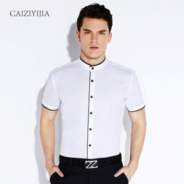 Chinese Style Dress Shirt Canada - Summer 2016 Mens Short Sleeve Banded Collar with Black Piping Dress Shirt Lightwight Casual Chinese Style Slim-fit Cotton Shirts