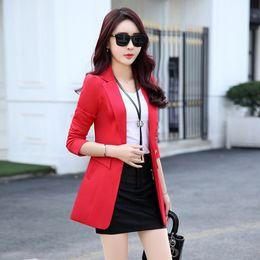 Yellow Ladies Jacket NZ - Elegant Ladies Blazers 2017 Fashion Red Black Yellow Blazer Women Suit Jacket Work Office Bussines Blazer Women Plus Size Blazer