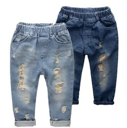 Wholesale fashion kids jeans online shopping - Ripped jeans for kids Fashion denim children s clothing baby boys girls jeans for children brand slim casual pants