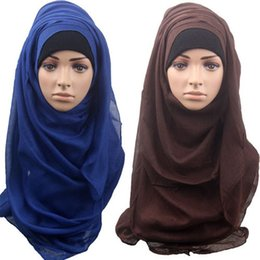 wholesale cotton linen scarves UK - New High Quality Soft Linen Shinny Solid Plain Shawls Hijabs Oversize Muslim Headband Wraps Hijab Scarves Pure Color Scarf Headband