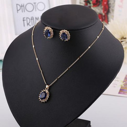 blue diamond wedding necklace Australia - Necklace & Earring set, Red Blue Greet gemstone diamond pendants,Ruby,Sapphire for dinner party, wedding, hign quality and free shipping