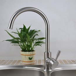 Steel Drawings Canada - Sanitary Products 304 Stainless Steel Lead Free Wire Drawing Kitchen Water Tank Hot and Cold Mixed Water Tap Faucet