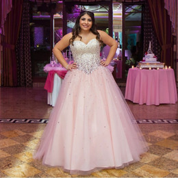 Sweet 16 Party Dresses Pink Canada - Sweet 16 Quinceanera Dresses 2016 Vestidos de 15 anos Back Corset Ball Gown Pink Prom Birthday Party Gowns with Sparking Crystal Beaded