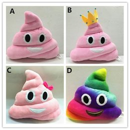 $enCountryForm.capitalKeyWord Canada - New 35cm emoji plush toys Pillow Cushion cartoon 14 inches Poop Stuffed Animals Pillows dolls crown pink rainbow color EMS