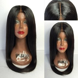 Large Sized Wigs NZ - 8A grade Pure colorNatural human hair wigs Fine French lace 130% medium cap size straight long full lace wigs