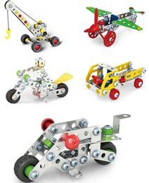 Toys Cranes Canada - 3D Assembly Metal Engineering Vehicles Model Kits Toy Car Crane Motorcycle Truck Airplane Building Puzzles Construction Play Set