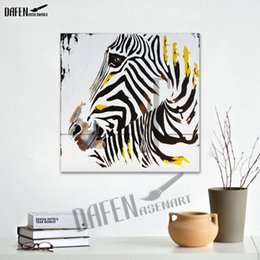 $enCountryForm.capitalKeyWord Canada - Happy Zebra 100% Handpainted Animal Oil Paintings Funny Cartoon Picture Paint Canvas Modern Wall Home Decoration