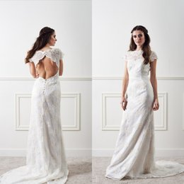Discount sexy white bride reception dresses 2017 sexy white 2016 sexy beach wedding dresses open back sheath lace illusion bateau neck capped reception bridal gowns appliqued brides dress sweep train junglespirit