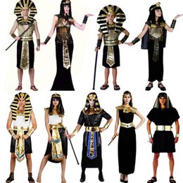 Robe De Cosplay D'egypte Pas Cher-2018 Nouvelle Egypte Costume Élégant Roi Reine Pharaon Costume Adulte Cosplay Halloween Carnaval Costumes Fantaisie Robe Partie Fournitures