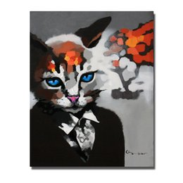 Painting Faces Australia - Modern Cat Face Wall Painting for Living Room Wall Abstract Oil Painting on Canvas Hand painted Animal Oil 1Peices No Framed