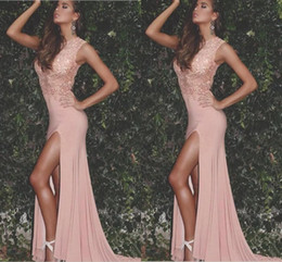 pink pageant dress size 12 Canada - 2017 Arabic New Sexy Blush Pink Lace Appliques Beaded Jewel Neck Prom Dresses Side Split Plus Size Pageant Party Dress Formal Evening Gowns