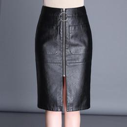 598d7518c7c 2018 Autumn Skirts Womens Fashion PU Leather Split Pocket High Waist Skirt  Women Elegant Mini Pencil Skirt Black Plus Size leather skirt M-4