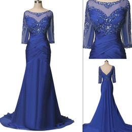 $enCountryForm.capitalKeyWord Canada - Real Images Mother Of The Brides Dresses 2016 Royal Blue Sheer Illusion Half Sleeves Open Back Wedding Guest Gowns Beaded Chiffon Long Dress