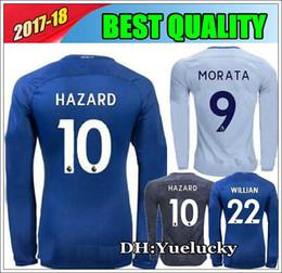 ... 17 18 Chelsea Long sleeve soccer Jerseys home blue HAZARD MORATA 2017  BAKAYOKO AWAY FOOTBALL SHIRT . f8dd2c2228283