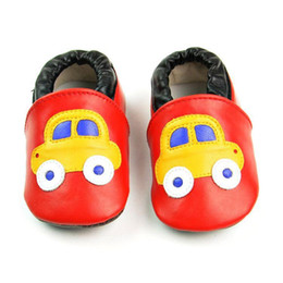 2015 new handmade genuine leather red yellow car design baby toddler shoes for kids girl boys free shipping