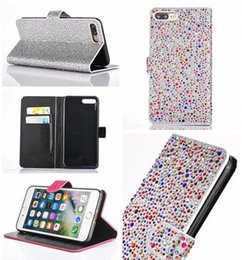 $enCountryForm.capitalKeyWord Canada - Luxury Diamond Flip Wallet Leather Case For Iphone 7 Plus I7 Iphone7 Crystal Rhinestone Bling Glitter Cards Stand Pouch TPU Phone Cover 2pcs