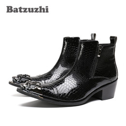 Heel popping online shopping - POP Rock Black Men Boots Pointed Iron Toe Zipper Men s Ankle Boots Fashion Autumn Leather Men Footwear bota masculina