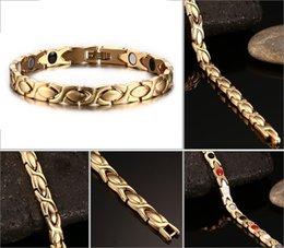 21,5 cm Gold-Farbe Gesunde Magnetische Armbänder Armreifen Für Männer Edelstahl Armreif Armband Körperpflege Trend Schmuck Therapie Armband B813S