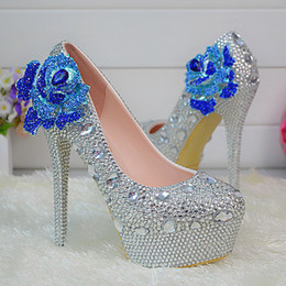 silver wedding heels size 12 2021 - Rhinestone Crystal Wedding Shoes Platform Silver Bridesmaid Shoes Plus Size High Heel Bridal Dress Shoes Women Prom Party Pumps