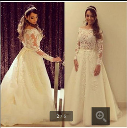plus size off shoulder wedding dresses Australia - Vintage Long Sleeves Wedding Dresses 2016 Off Shoulder Lace Appliques Plus Size Bridal Gowns Custom Made A Line Wedding Gowns 2016
