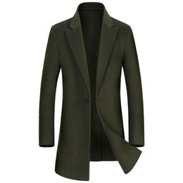 Costumes Pour Hommes Angleterre Pas Cher-Shanghai Histoire Hommes Laine Trench Coat Mélange Laine Costume Angleterre Style Conception Laine Slim Pardessus Hommes Simple Bouton Manteau Occasionnel