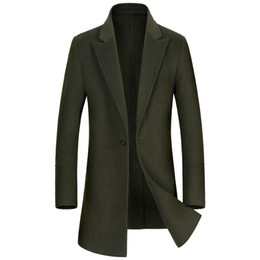 Barato Ternos Para Homens Inglaterra-Shanghai Story Men Lã Trench Coat Blend Terno de lã England Style Design Slim Lã Overcoat Men's Single Button Casual Casual