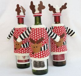 Santa Claus Cover Canada - 2017 New Fashion Xmas Deer Knitted Red Wine Bottle Cover Bags Deer sweater Christmas Decoration Supplies Home Party Santa Claus Christmas
