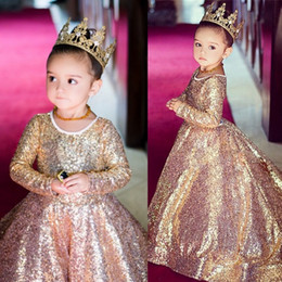 ivory wedding dress pink roses 2019 - Sparkly Sequined Girls Pageant Dress Rose Gold Ball Gown Flower Girl Dresses Long Sleeves Kid Wedding Gowns discount ivo