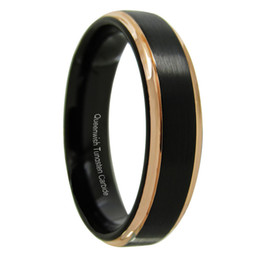 $enCountryForm.capitalKeyWord UK - Queenwish Promise Rings 6mm Tungsten Carbide Ring Black Brushed Rose Gold Stripe Infinity Wedding Band Eternity Couples Unique Jewelry