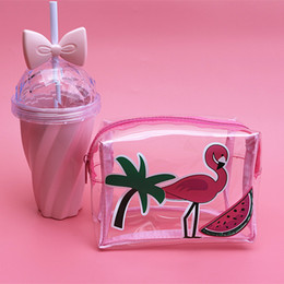 TransparenT cuTe carToon case online shopping - Flamingo Cosmetic Bag Transparent PVC Makeup Bags Women Cosmetics Cases Cute Cartoon Clear Storage Toiletry Travel Organizer Bag