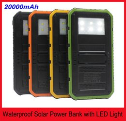 Power Bank Charger Packaging Canada - Retail Package 20000mAh Solar Powerbank Waterproof Solar with Six LED Camping Lights Solar charger power bank