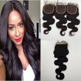 4x4 lace closures NZ - 100% Brazilian Hair 4x4 Lace Closure Top Closure Body Wave Straight Natural Color Human Hair Closure DHL Free Shipping