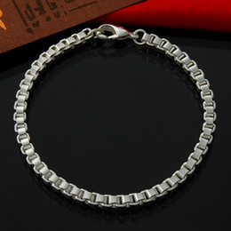 925 silver box link chains NZ - Box chain Bracelet Venetian Style 4mm 8 inches Women 925 Sterling Silver bracelet and bangles fashion Jewelry