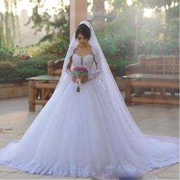 Chinese  Vintage Long Sleeves Wedding Dresses With Sweetheart Illusion Sweep Train Tulle Wedding Gowns Country Style African Dubai Bridal Dress manufacturers