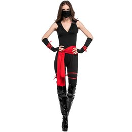 $enCountryForm.capitalKeyWord UK - Classic Halloween Costumes Cosplay Costumes For Women Black Masked Warriors Ninja Warrior Clothing RF0147
