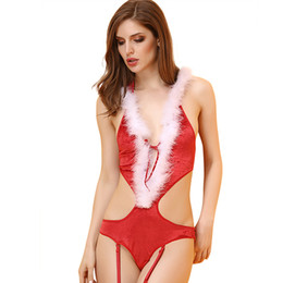 Barato Ternos De Bebê Sexy-Baby Doll Sexy Lingerie Hot Christmas Sexy Bodysuit Costumes Exotic Dancewear Body Ternos para Mulheres Exotic Apparel Cosplay Red
