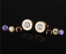 Wholesale Rhinestone Stud Earrings with colors Purple Yellow Red White stones Gold Rose Gold Silver Metal Color Women Men Titanium Steel Jewlery