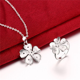 $enCountryForm.capitalKeyWord Australia - Free shipping brand new high grade 925 sterling silver Five flower piece jewelry sets DFMSS800 Factory direct sale wedding necklace ring