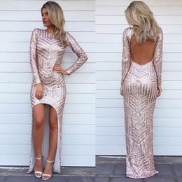 Discount long glitter formal dresses Sexy Glitter High Low Evening Dresses Sequins Asymmetric Long Sleeves Party Prom Dresses Backless Formal Celebrity Arabi