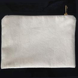 Blank for printing online shopping - plain natural cotton canvas cosmetic bag with matching color lining gold zip x10in blank makeup bag for DIY paint print black white ivory