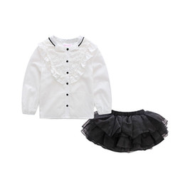 Clothing single pieCes online shopping - PrettyBaby summer girls clothing sets white shirt long sleeves black short dress England style lace girls clothes