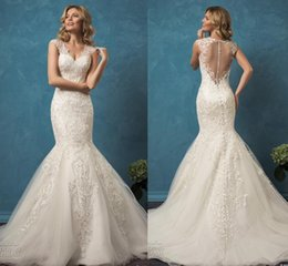 wedding dresses sposa 2019 - Amelia Sposa 2018 Wedding Dresses Mermaid Lace Sheer Back 2019 Vintage Bridal Gowns With V Neck Cap Sleeves Court Train
