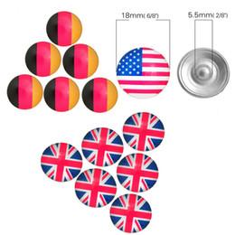 Venta al por mayor Rhinestones británicos del botón del broche de presión del metal de la bandera nacional de los EEUU 18MM los EEUU mezclaron el brazalete E563L de la pulsera de los estilos DIY en venta